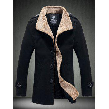 Single Breasted Stand Collar Fleece Plush Lined Warm Coat