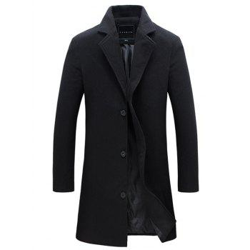 Lapel Single Breasted Woolen Coat
