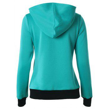 Casual Buttoned Long Sleeve Zipper Up Hoodie - LAKE BLUE S