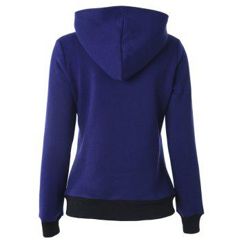 Casual Buttoned Long Sleeve Zipper Up Hoodie - DEEP BLUE S