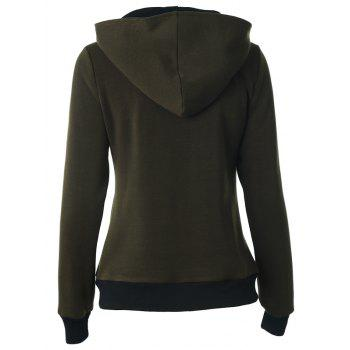 Casual Buttoned Long Sleeve Zipper Up Hoodie - ARMY GREEN M