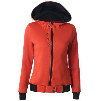 Casual Buttoned Long Sleeve Zipper Up Hoodie