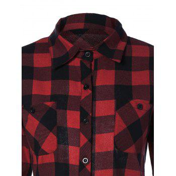 Plaid Back Skull Pattern Flannel Shirt - DEEP RED DEEP RED