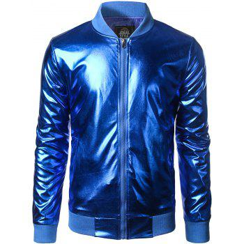 Stand Collar Zipper-Up Metallic Bomber Jacket