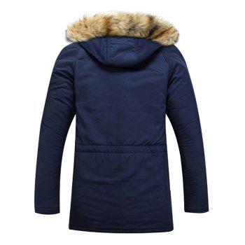 Multi-Pocket Faux Fur Hooded Zip Up Padded Coat - BLUE M