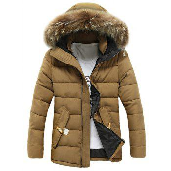 Faux Fur Hooded Button Pocket Zip Up Quilted Coat - KHAKI M