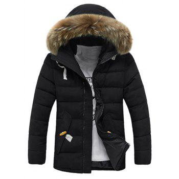 Faux Fur Hooded Button Pocket Zip Up Quilted Coat