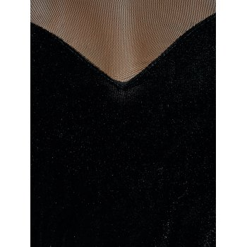 See Through Long Sleeve Sheer Velvet T-Shirt - BLACK XL