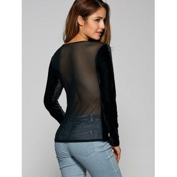 See Through Long Sleeve Sheer Velvet T-Shirt - BLACK M
