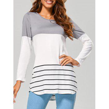 Long Striped Lace Panel Long Sleeve T-Shirt - GRAY GRAY