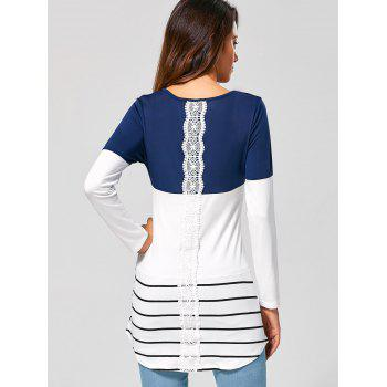 Long Striped Lace Panel Long Sleeve T-Shirt - DEEP BLUE L