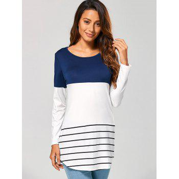 Long Striped Lace Panel Long Sleeve T-Shirt - DEEP BLUE S