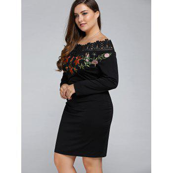 Plus Size Embroidered Off The Shoulder Sheath Dress - BLACK XL