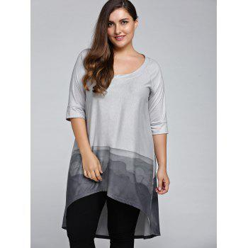 Plus Size 3/4 Sleeve Printed High Low T-Shirt - GRAY XL