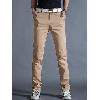 Casual Straight Leg Mock Pocket Chino Pants