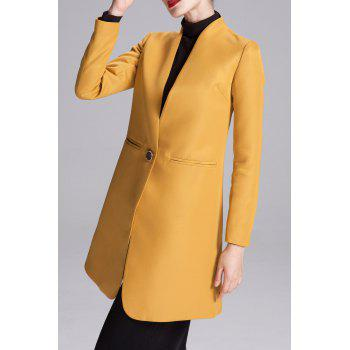 One Button Stand Collar Coat - EARTHY S
