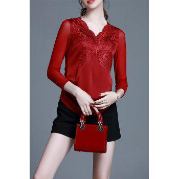 V Neck Embroidered Slim Top