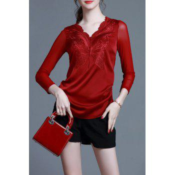 V Neck Embroidered Slim Top - WINE RED 2XL