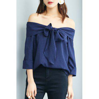 Off The Shoulder Stripe Top with Bow