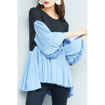 Lantern Sleeve Chiffon Pleated Top