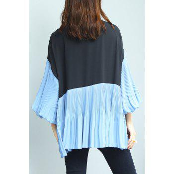 Lantern Sleeve Chiffon Pleated Top - BLUE/BLACK ONE SIZE