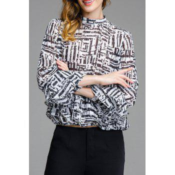 Stand Up Collar Print Ruffle Blouse - WHITE/BLACK M