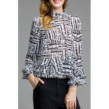 Stand Up Collar Print Ruffle Blouse