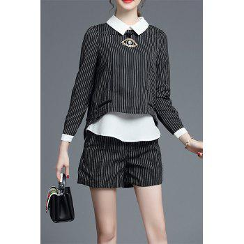 Collared Pinstriped Top with Shorts