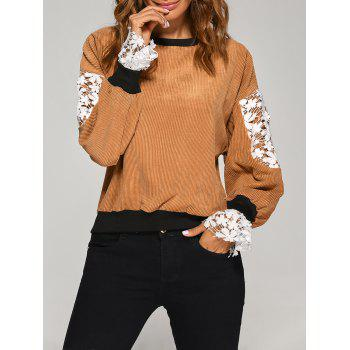 Crew Neck Crochet Flower Spliced Corduroy Sweatshirt