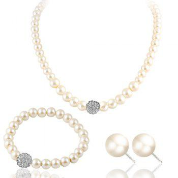 Rhinestone Faux Pearl Necklace Bracelet and Earrings