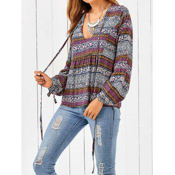 Plunging Neck Bohemian Printed Loose Blouse