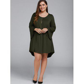 Plus Size Flare Sleeve Lace-Up Dress