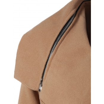 Zipped Belted Long Shawl Wrap Coat - KHAKI 2XL