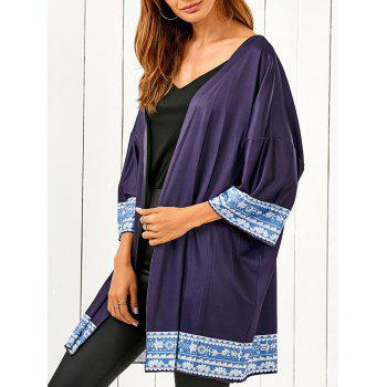 Bat-Wing Sleeve Printed Beach Cover Up - BLACK BLUE BLACK BLUE