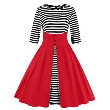 Midi Striped Formal Skater Cocktail Dress - RED RED