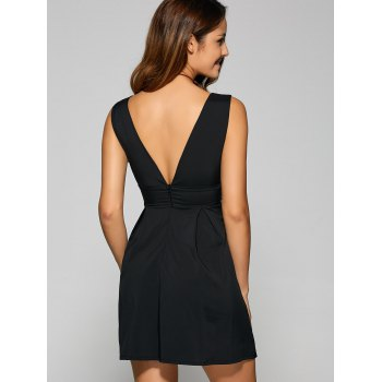 Backless Embroidered Plunging Neck Party Dress - BLACK M