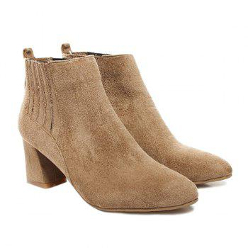 Pointed Toe Suede Stitching Ankle Boots - LIGHT BROWN 37