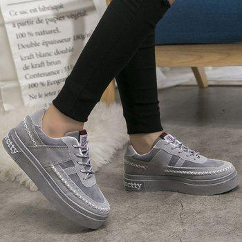 Lace Up Stitching Suede Platform Shoes - GRAY 37