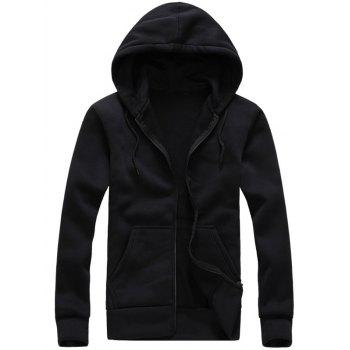 Zip-Up Hooded Long Sleeve Hoodie - BLACK BLACK