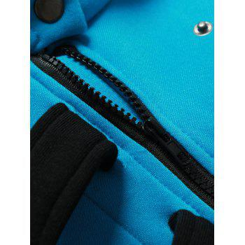Inclined Zipper Color Block Hooded Long Sleeves Men's Hoodie - BLUE 2XL