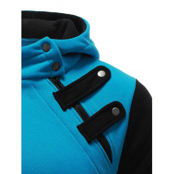 Inclined Zipper Color Block Hooded Long Sleeves Men's Hoodie - BLUE M
