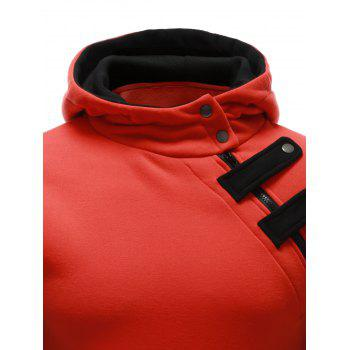 Inclined Zipper Color Block Hooded Long Sleeves Men's Hoodie - ORANGE 2XL