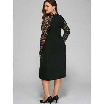 Plus Size Twist Front Lace Insert Fitted Dress - BLACK 3XL