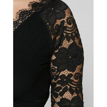 Plus Size Twist Front Lace Insert Fitted Dress - BLACK XL