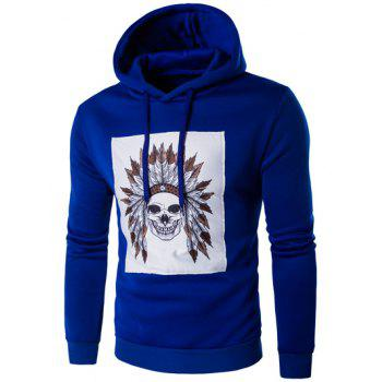 Chief Skull Print Long Sleeve Hoodie - SAPPHIRE BLUE SAPPHIRE BLUE