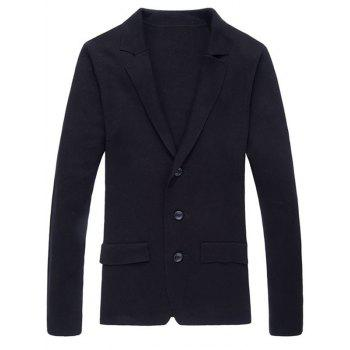 Button Up Notch Lapel Texture Cardigan - BLACK BLACK