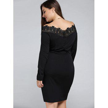 Plus Size Embroidered Off The Shoulder Sheath Dress - BLACK 3XL
