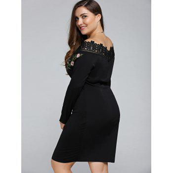 Plus Size Embroidered Off The Shoulder Sheath Dress - BLACK 4XL