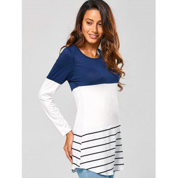 Long Striped Lace Panel Long Sleeve T-Shirt - DEEP BLUE DEEP BLUE