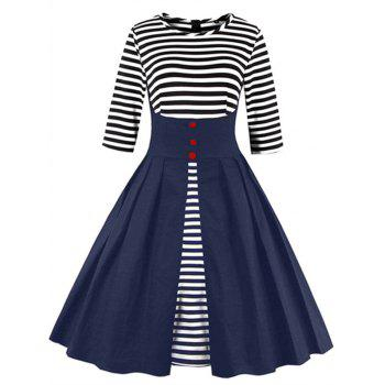 Midi Striped Formal Skater Cocktail Dress - BLUE BLUE